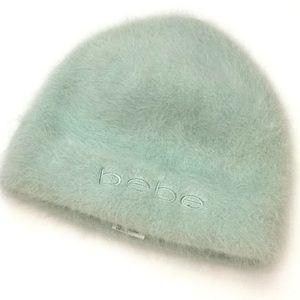 NWOT Bebe angora mint green hat osfa
